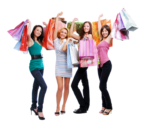 Happy group of girls holding shopping bags in the air