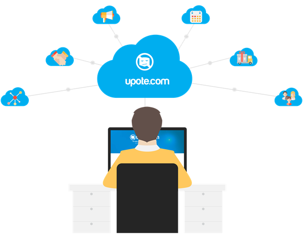 Illustration of man on computer browsing upote and upote products visualized in clouds