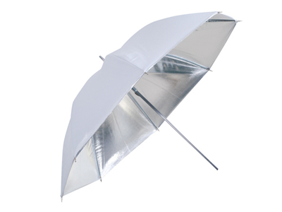 'Diffuusiovarjo, hopea/valkoinen, käännettävä, 100 cm'
