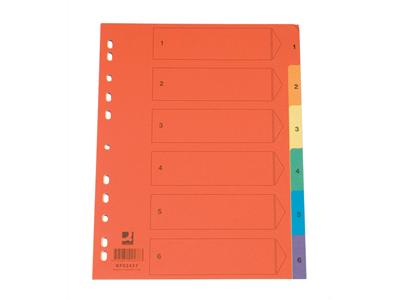 'Hakemisto, A4, 1-12, kartonki, värillinen'