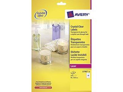 'Kristallinkirkas lasertarra Avery L7783, 96*50,8 mm, 10 tarraa/arkki, 25arkkia/pkt'