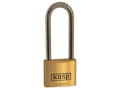 'Riippulukko, Kasp security Premium, 40x63 mm, messinkiä, pitkä sanka'