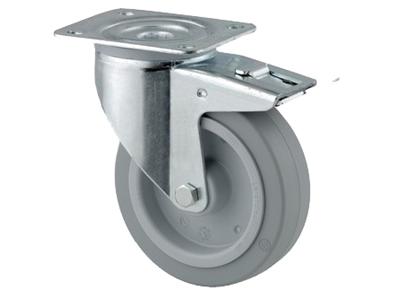 'Teollisuuspyörä, jarru, ⌀ 100 mm, max 160kg, harmaa elastinen'
