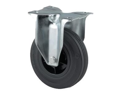 'Teollisuuspyörä, kiinteä, ⌀ 100mm, max 75 kg, musta umpikumi, musta umpikumi'
