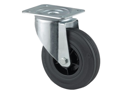 'Teollisuuspyörä,  kääntyvä, ⌀ 100mm, max. 75kg, musta umpikumi'