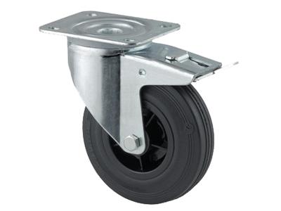 'Teollisuuspyörä, jarru, ⌀ 125mm, max 100kg, musta umpikumi'