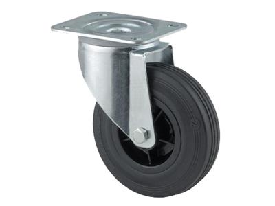 'Teollisuuspyörä, kääntyvä, ⌀ 125mm, max 100kg, musta umpikumi'