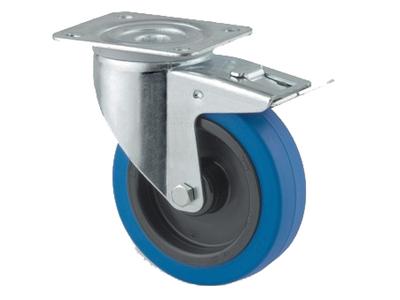 'Teollisuuspyörä, jarru, sinkitty,⌀ 100mm, max 160 kg, sininen elastinen'