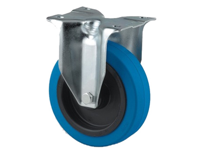 'Teollisuuspyörä, kiinteä, ⌀ 100mm, sinkitty, max 160 kg, sininen elastinen'