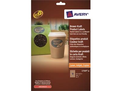 'Tulostintarra Avery L7103-20 63,5x42,3/360 ovaali ruskea'